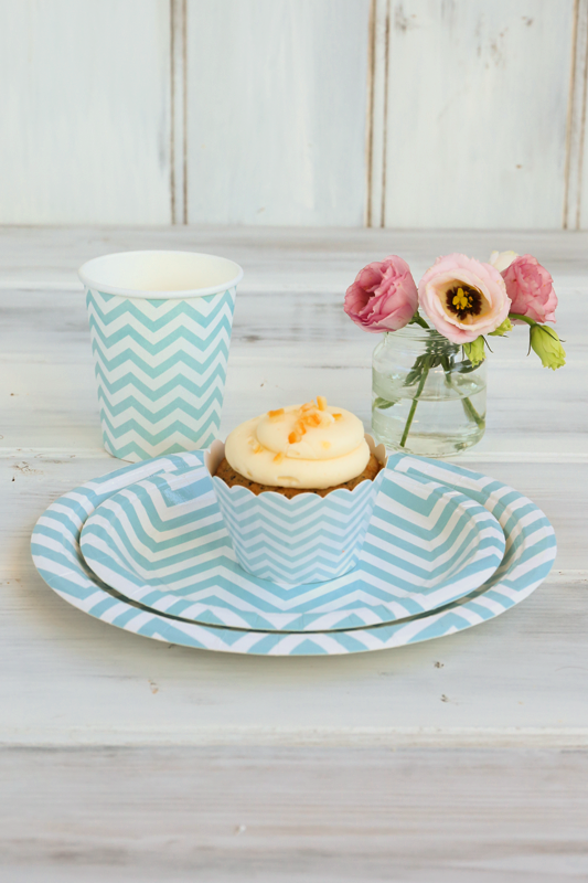 Chevron Blue Party Package This gorgeous chevron partyware package is sure to delight. Each Party Package Includes: 12 x Large Plates 12 x Dessert Plates 12 x Cups 12 x Cupcake Wrappers  $27.50