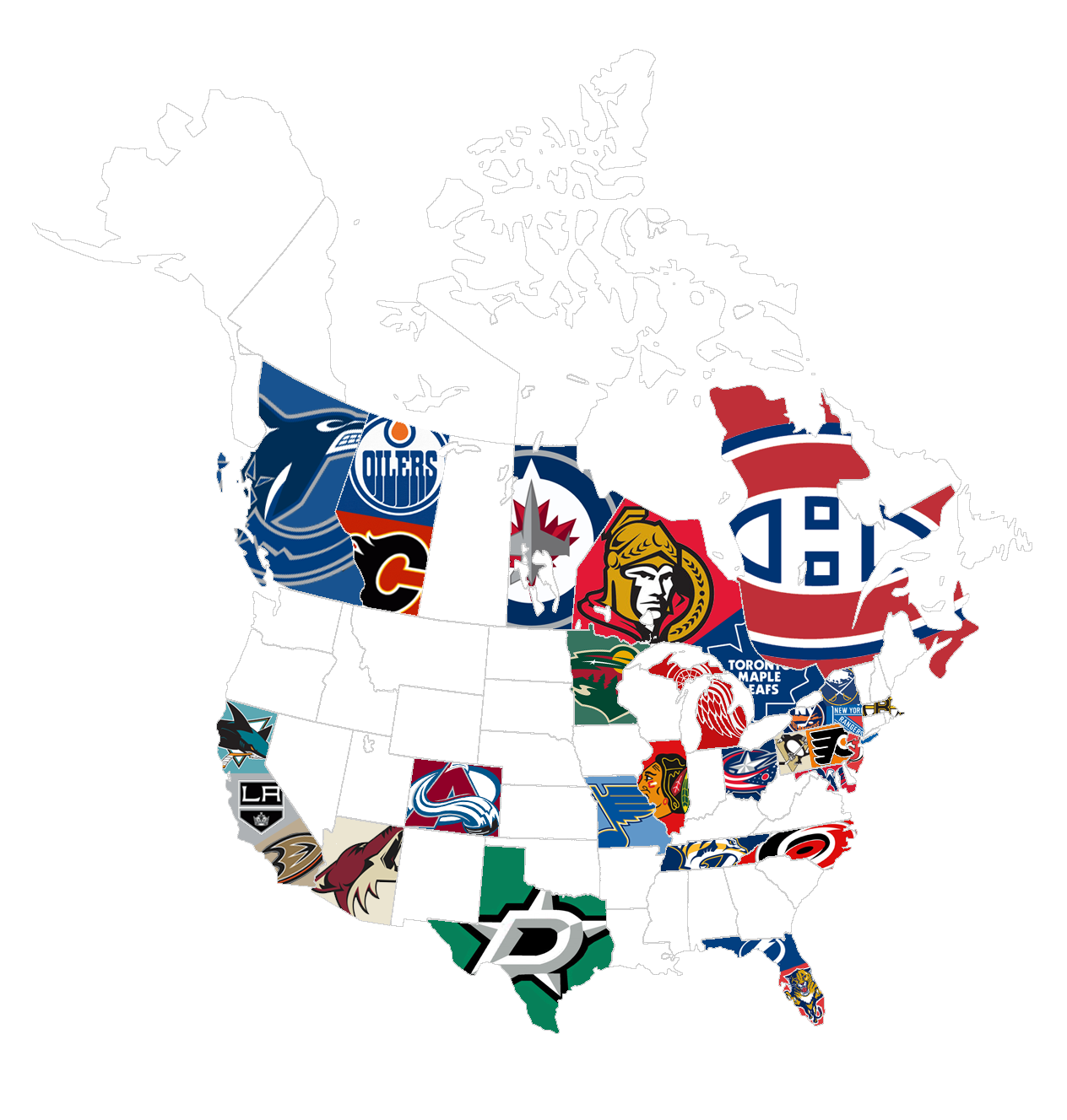 Map Of United States And Canada NHL Team Logos Map - Us map logo