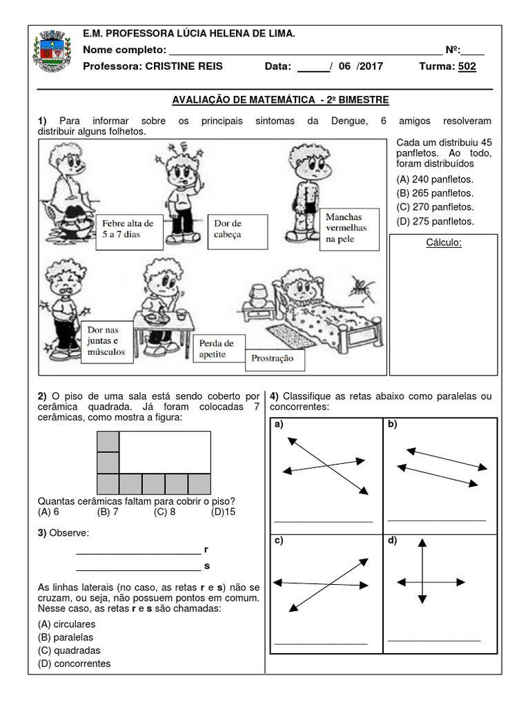 Pin Em Avaliacao De Matematica