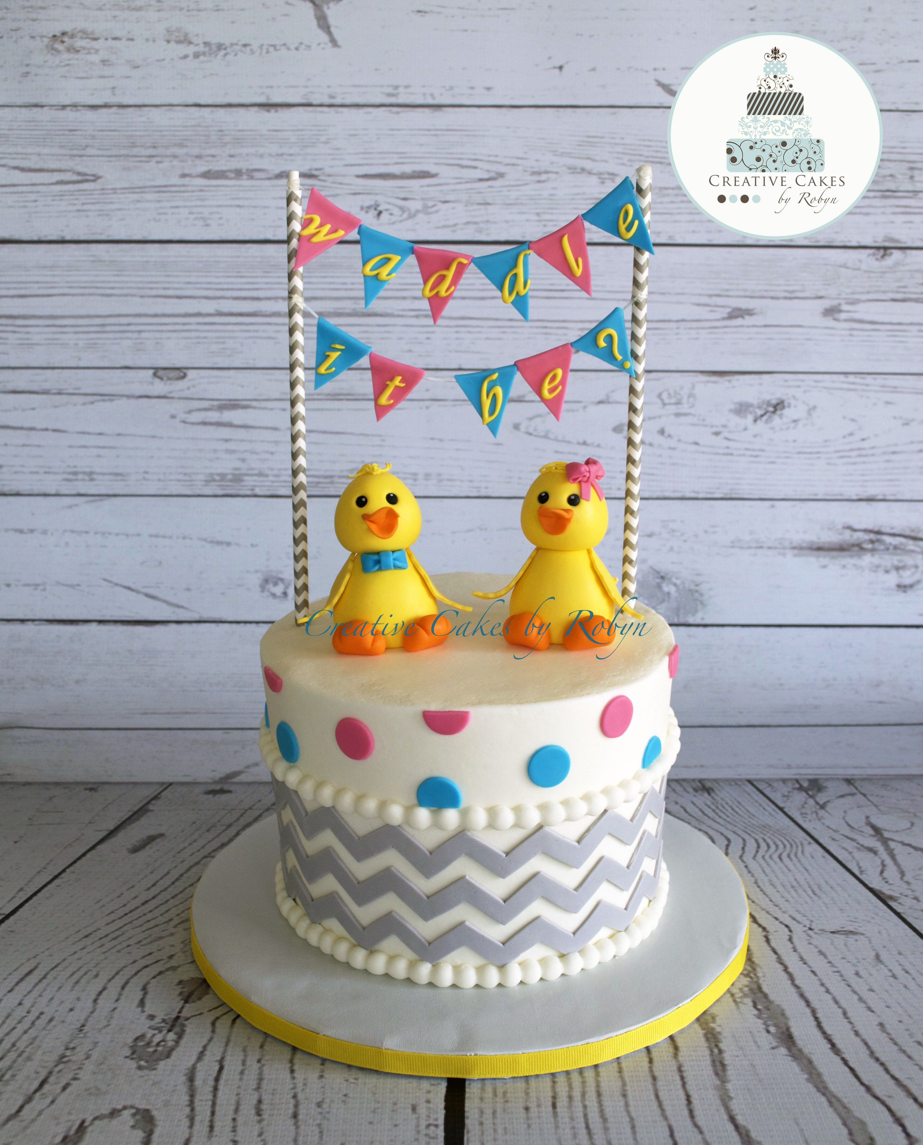 """Waddle it Be"""" baby shower themed cake"""