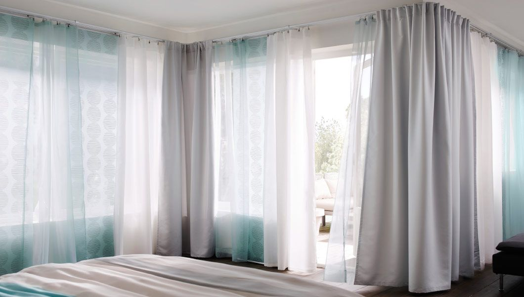 Bedroom With Ikea Curtain Tracks For Corner Solutions Would Love This The Room And Family