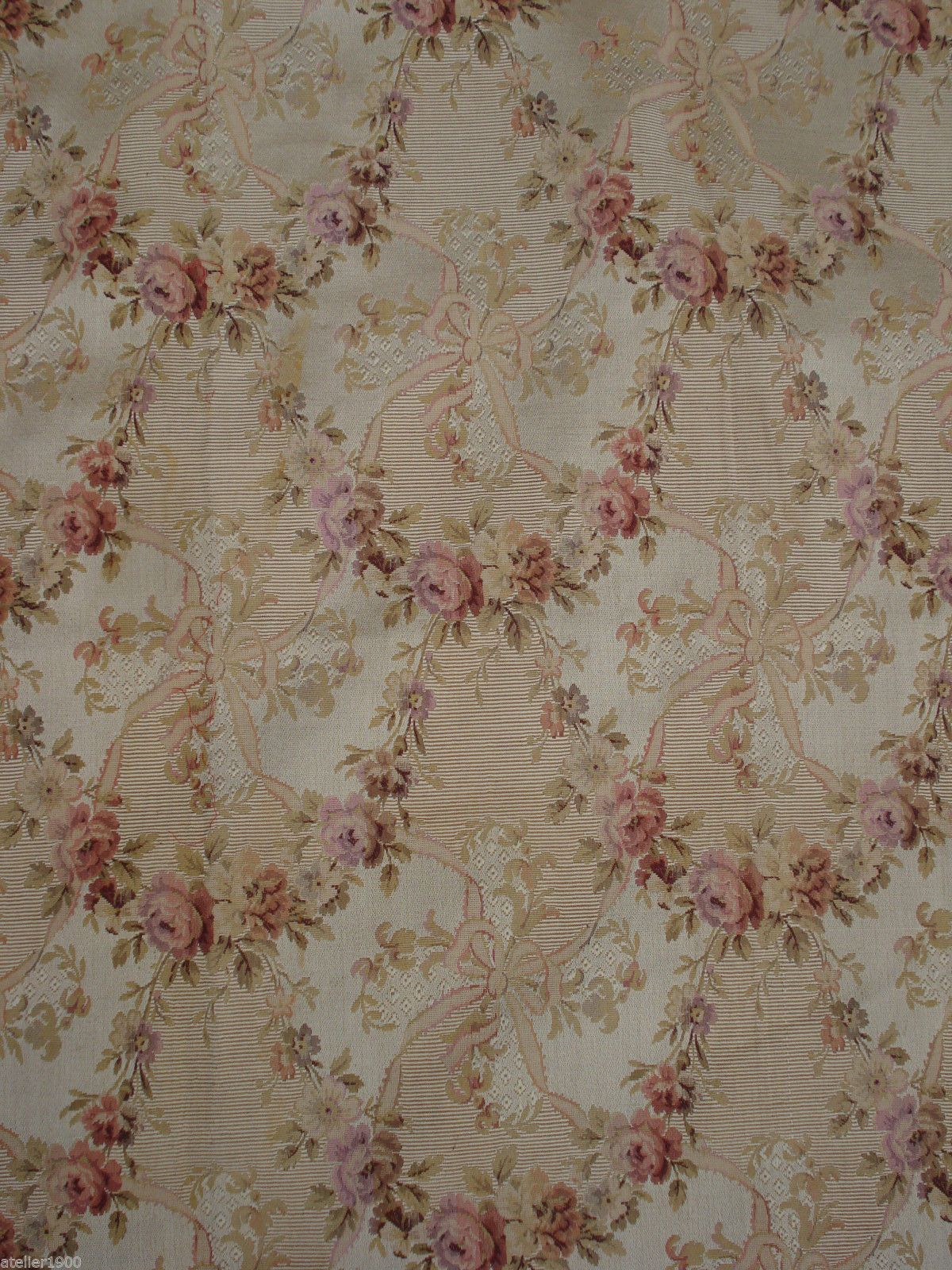 antique victorian french silk/coton brocade rose garlands