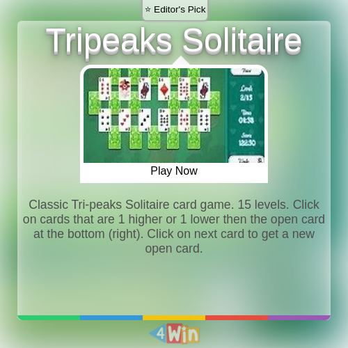 Classic Tripeaks Solitaire card game. 15 levels. Click