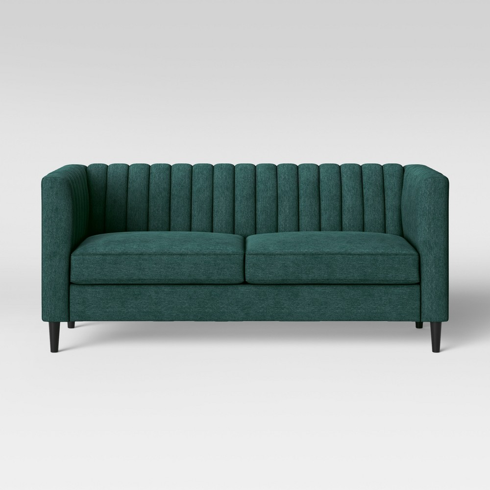 Farben des wohnraums 2018  calais sofa with channel tufting green  project  in