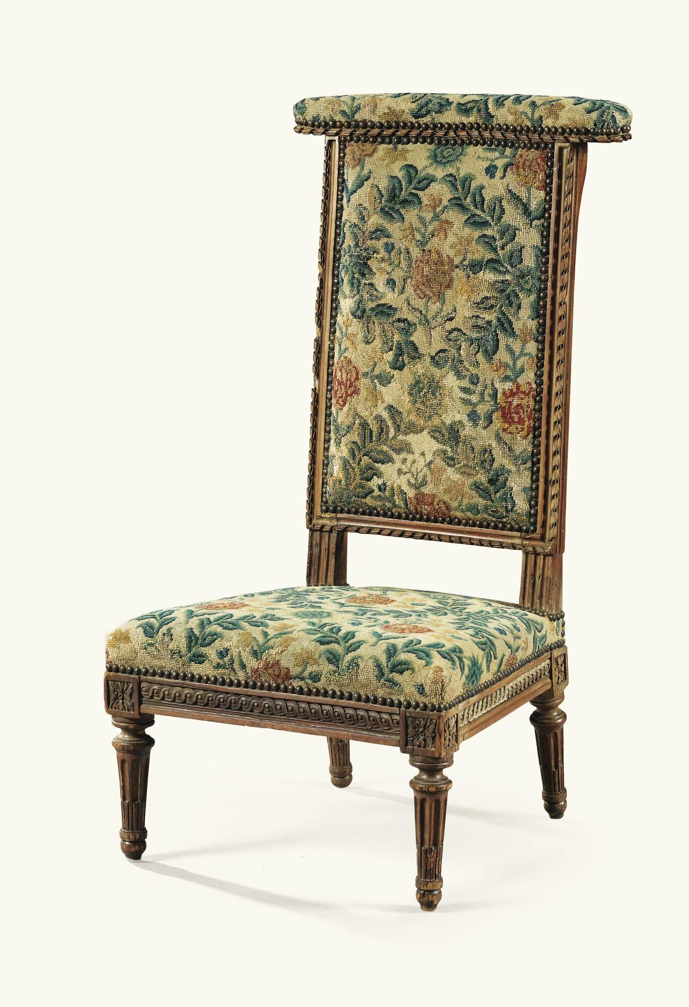 Chaise voyeuse en bois naturel d époque Louis XVI estampillée I B