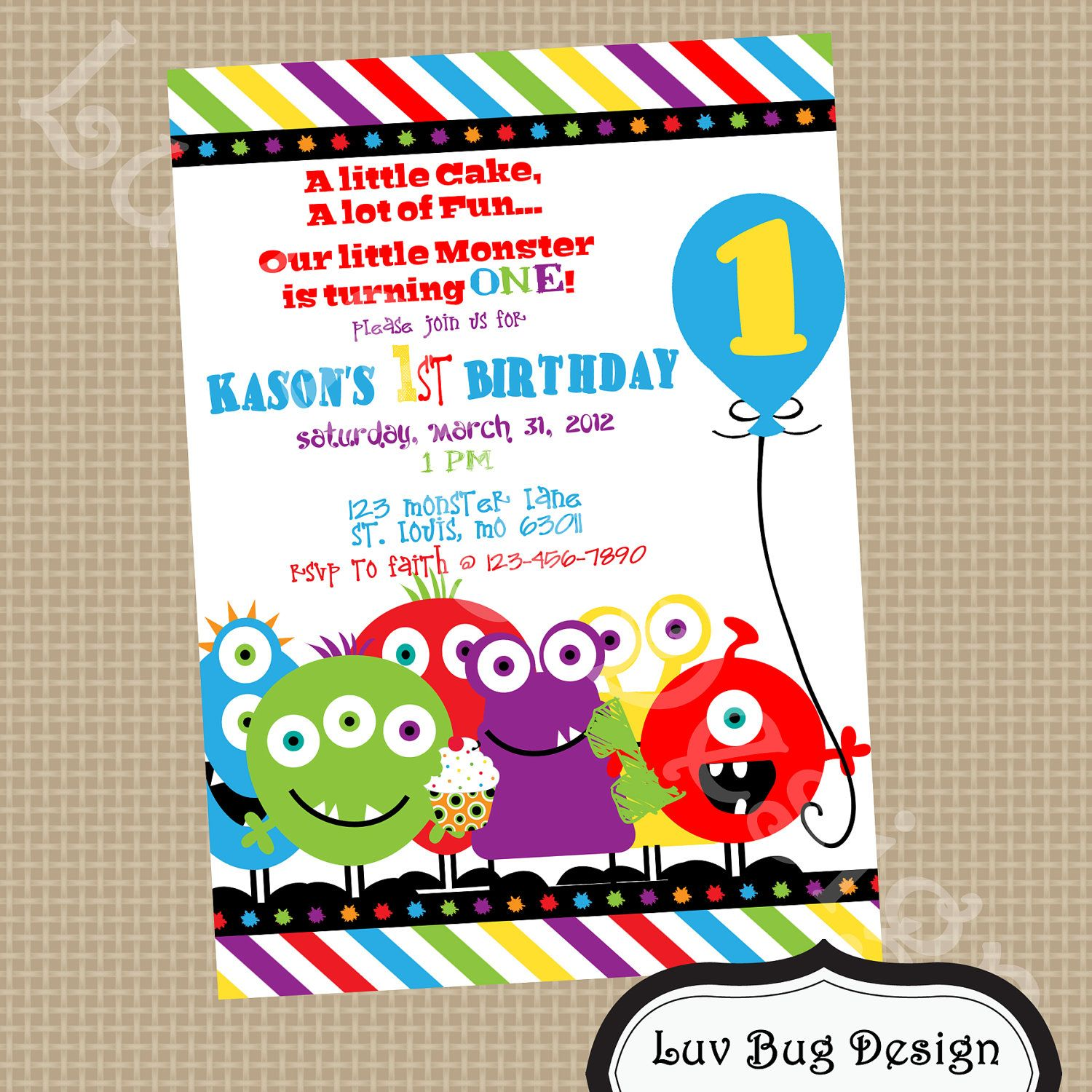 printable little monster birthday party invite diy printable party invitation by luv bug design - Monster Birthday Party Invitations