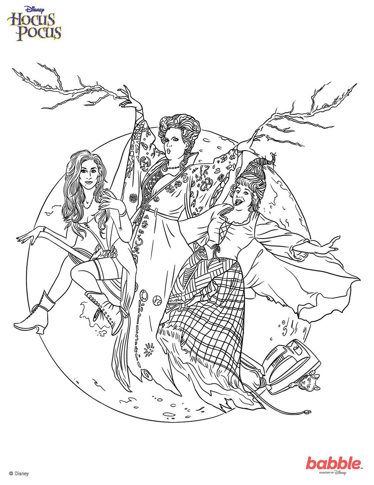 Hocus Pocus Coloring Pages Download | Witch coloring pages ...