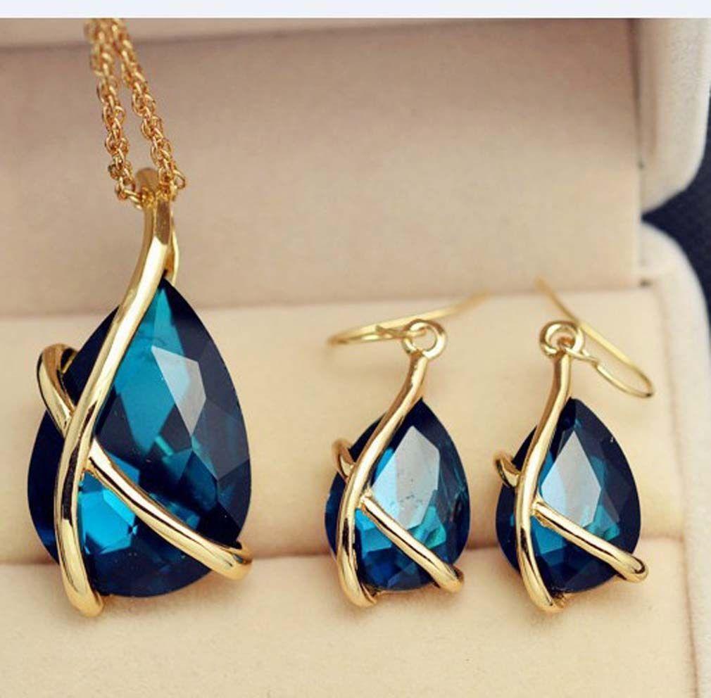 Women elegant gold plated blue gemstone drop necklace earrings