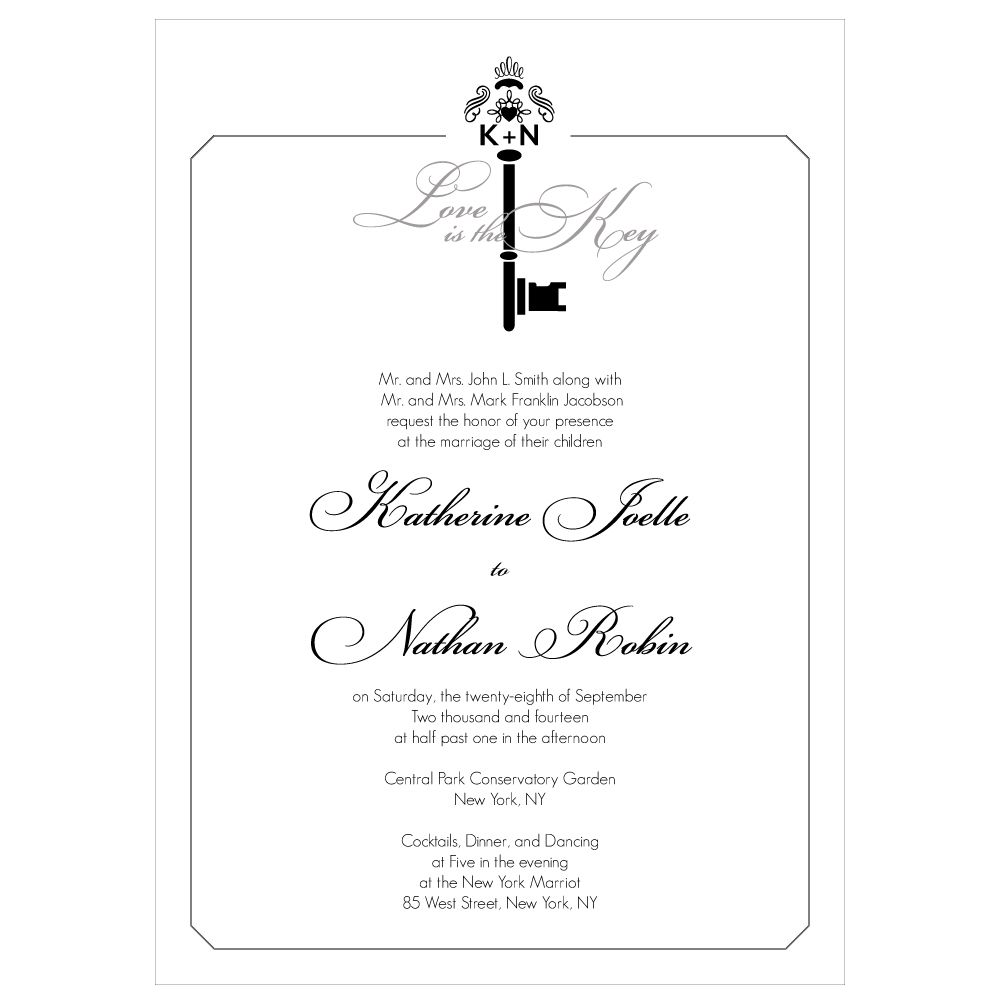 Key Monogram Invitation   Monograms, Wedding and Weddings