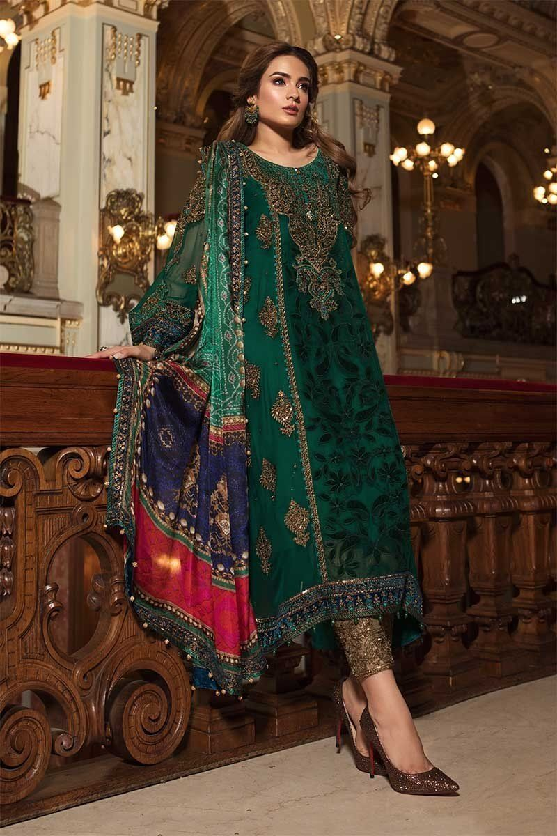 fa0d95366b1 MARIA.B. Mbroidered Wedding Edition 2018 – Emerald Green   Teal (BD ...
