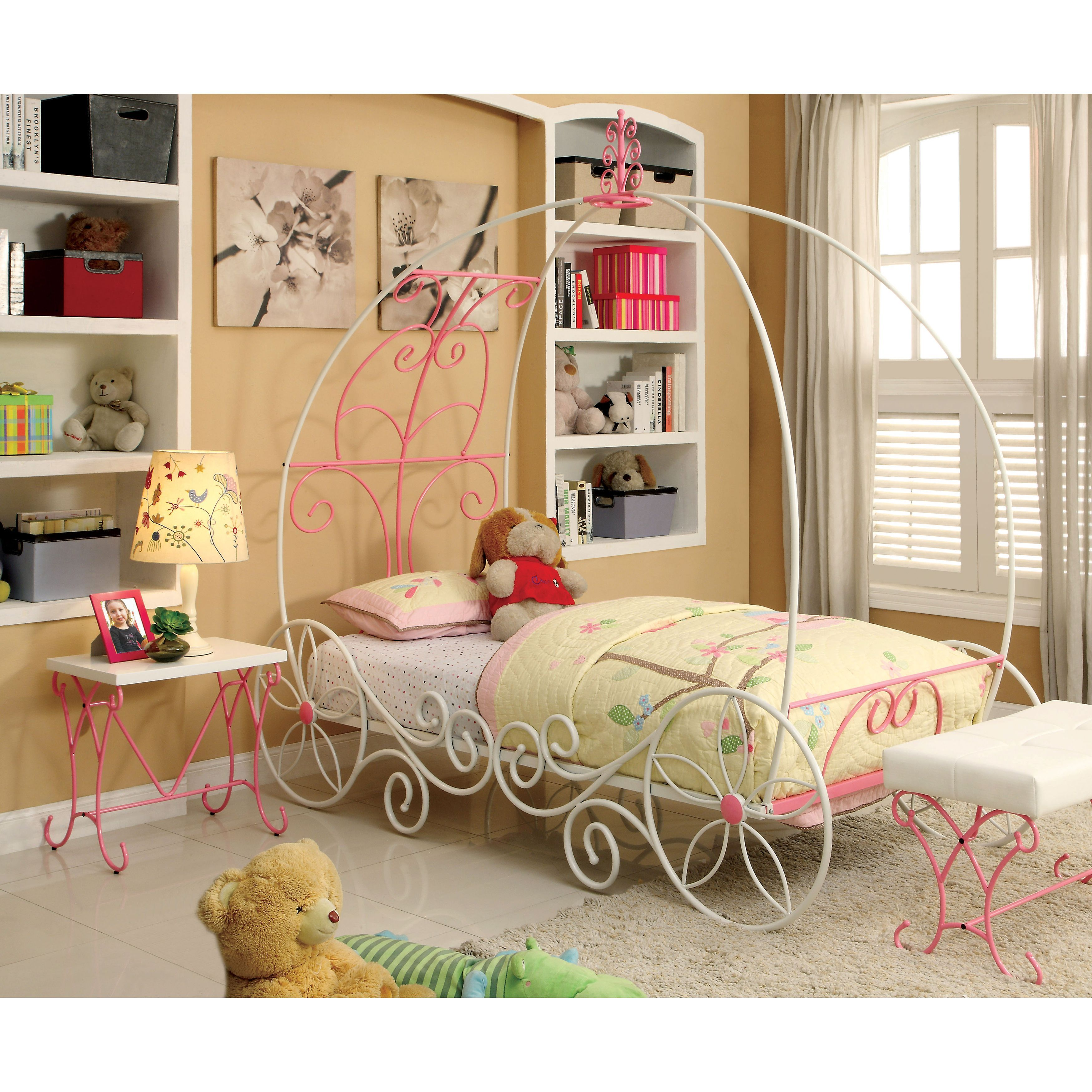 Furniture Of America Princess Fantasy 2 Piece Carriage Inspired Twin Bed And Nightstand Set Pink White