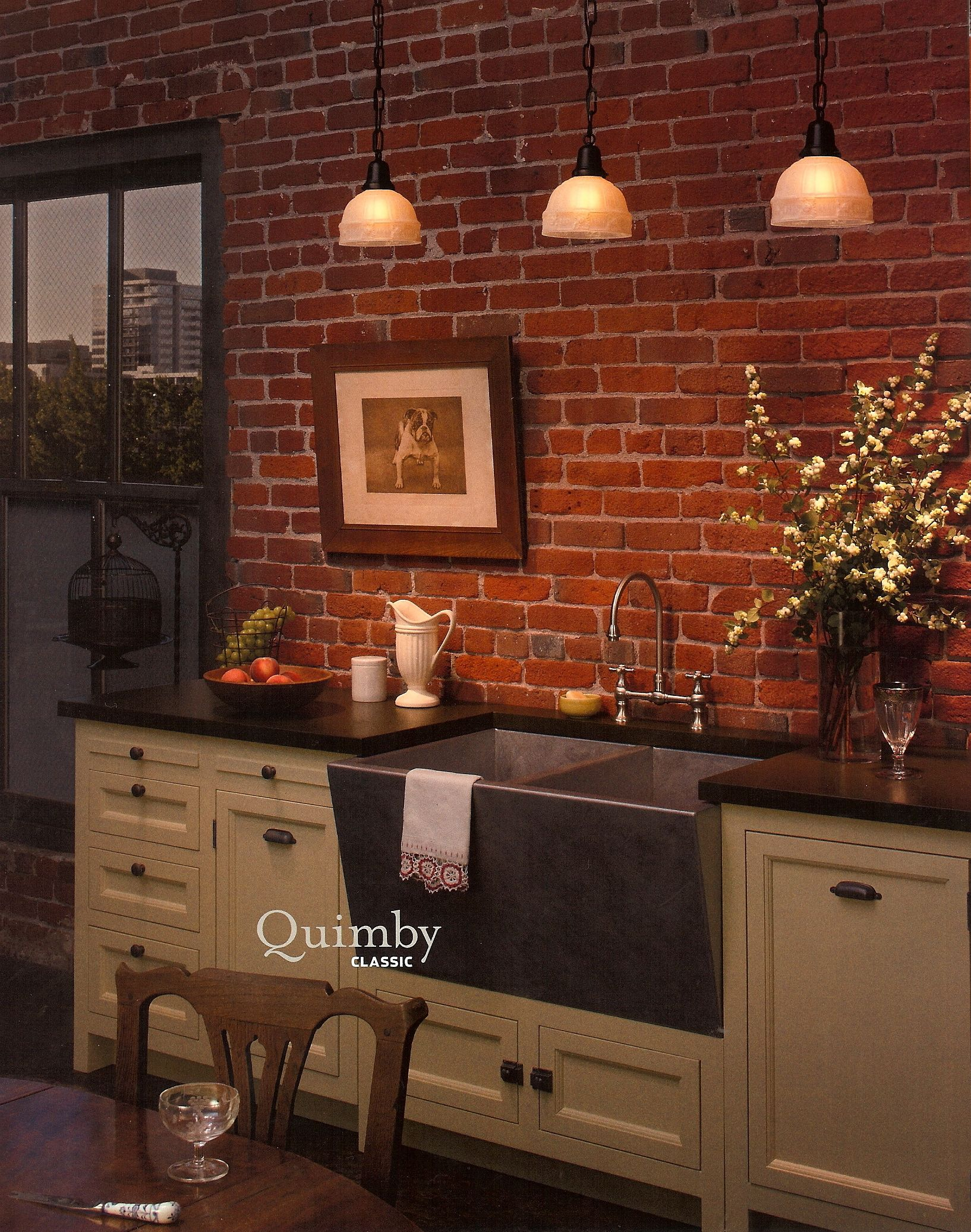 Exposed brick kitchen decorating ideas rooms that i love for Exposed brick kitchen ideas