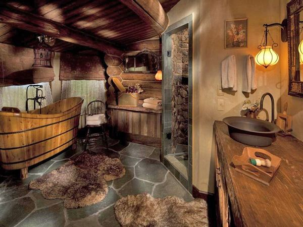 Kitschy and rustic log home bathroom with a wooden bathtub, antique copper sink, and other fun furnishings