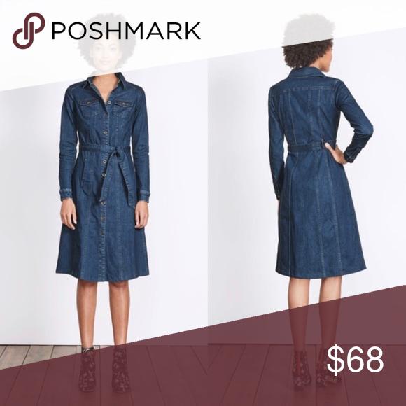 9dce7ef63 Boden Laura Denim Shirt Dress Size 10L This button-through denim dress with  metal buttons