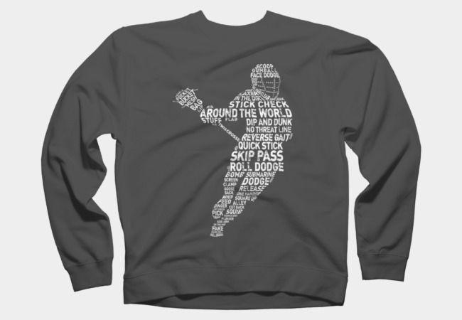 #Lacrosse player calligram crew neck sweatshirt, available in sizes S - 2XL #Sweatshirts #DesignByHumans #Wordart