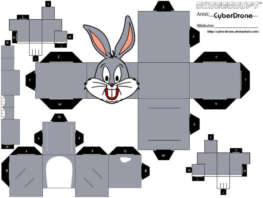 bug paper toys cubee bugs bunny by cyberdrone on deviantart looney 1178