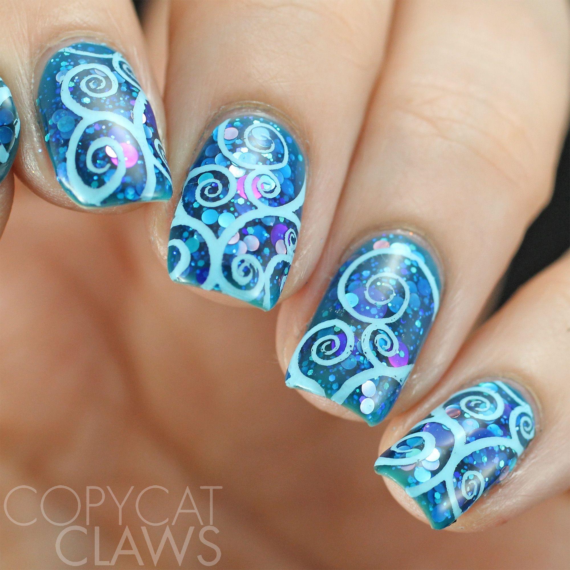 Mermaid inspired nail art using our swirls u twirls plate over