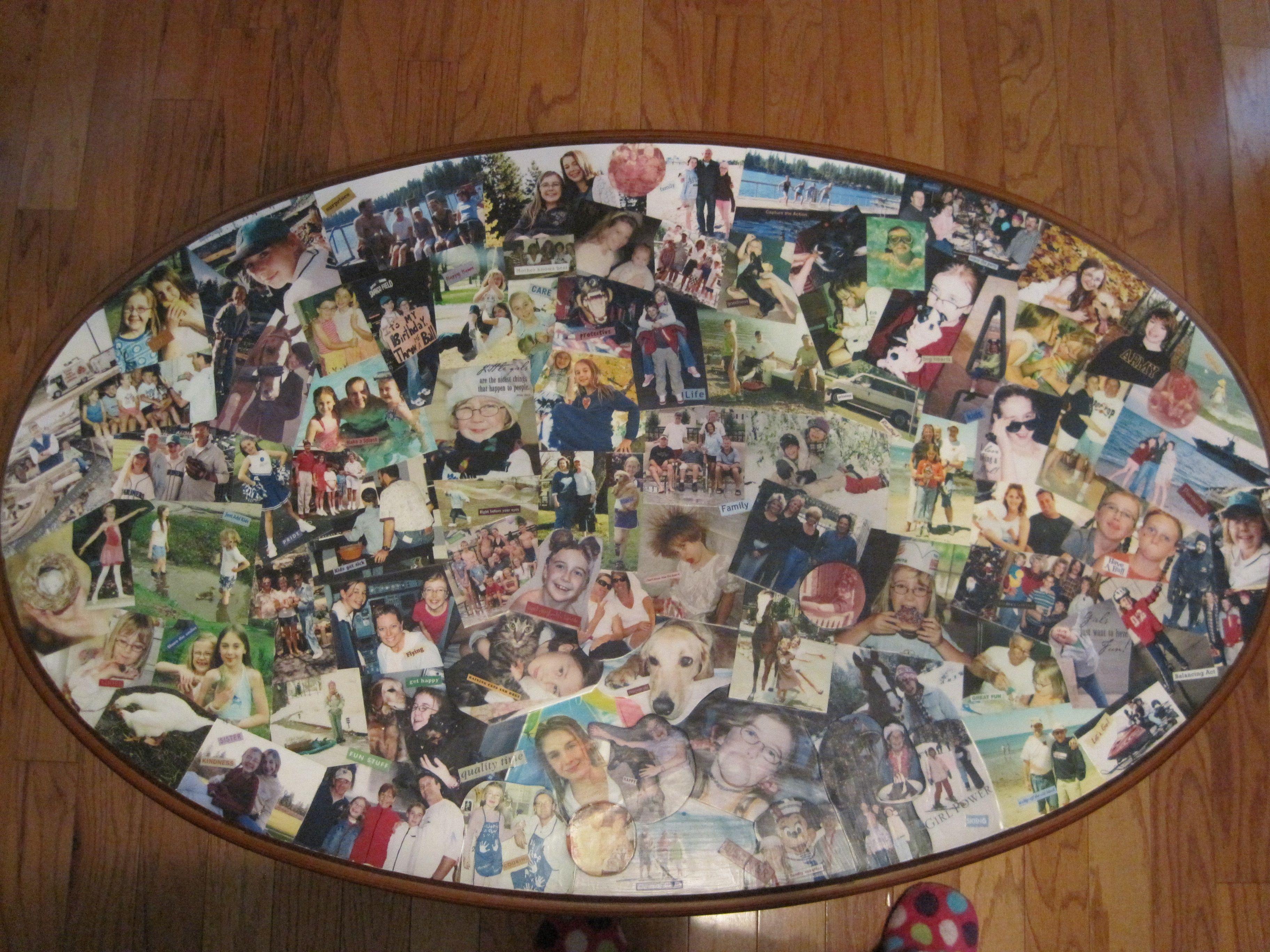 Photo Tabledecoupaged photos onto an old coffee table
