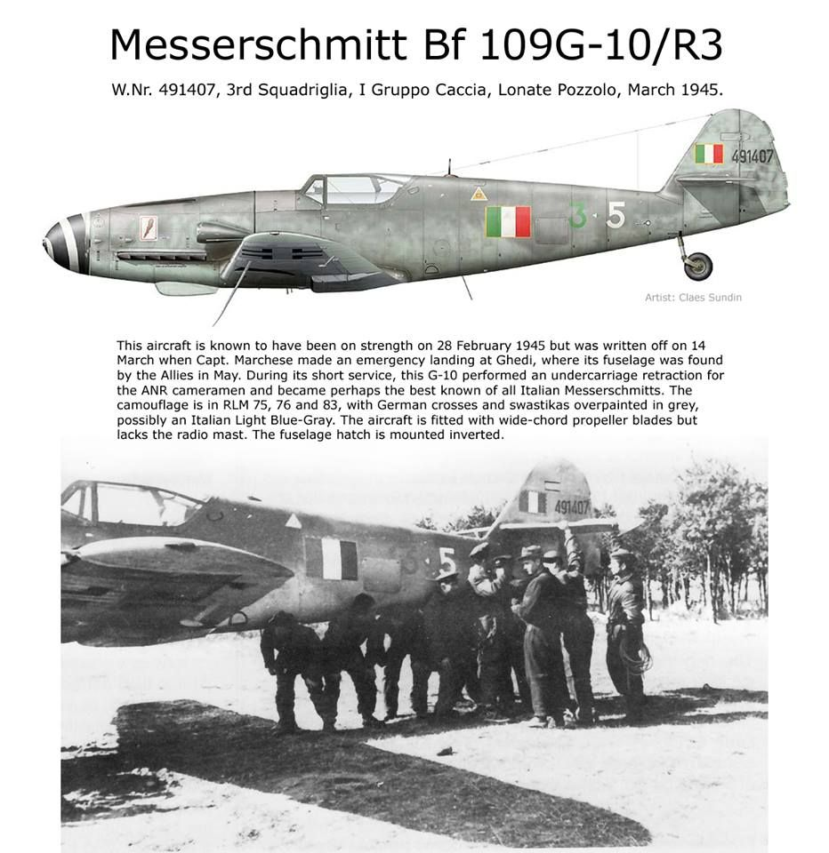 Messerschmitt Bf 109G-10 A machine flown by Cap. Cesare Marchesi 3rd Sq/1  Gruppo, Lonate Pozzolo/Italy, 14 March 1945