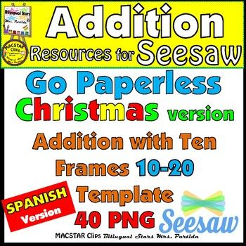 Seesaw Addition  Using A Ten Frame Png Templates Spanish