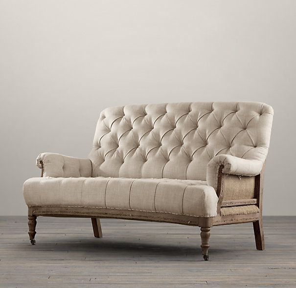Deconstructed french victorian settee restoration for Restoration hardware sectional sofa sale