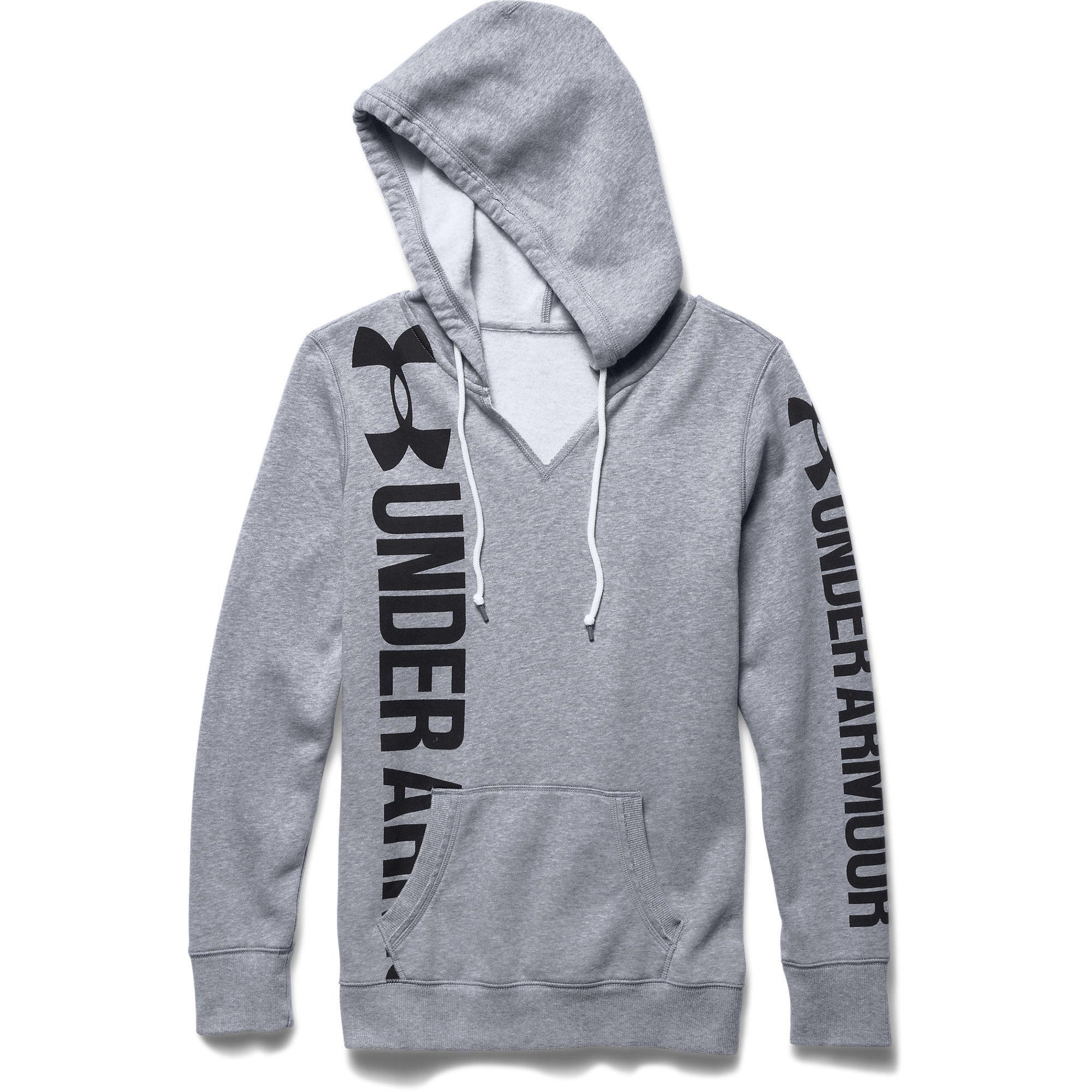 Under Armour Women S Favorite Fleece Branded Hoodie True Gray Heather Under Armour Outfits Womens Workout Outfits Hoodies [ 2000 x 2000 Pixel ]
