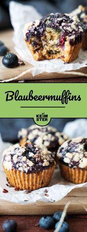Heidelbeermuffins mit Kakaospitzen Flauschige und saftige Heidelbeermuffins mit …