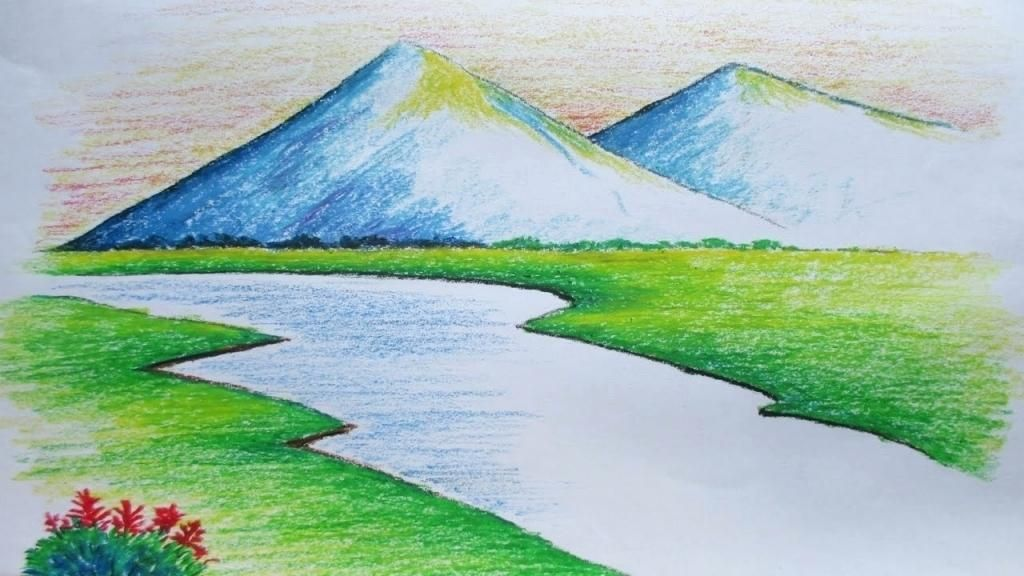 Easy Mountain Landscape In This Class You Will Learn How To Paint A Landscape Drawing Easy Pastel Landscape Oil Pastel Landscape
