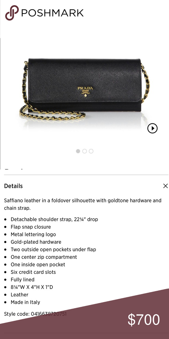 4034e84f1ab551 💕sale💕 PRADA Wallet on Chain AUTHENTIC Prada wallet on chain, black saffiano  leather and gold chain strap. EUC, very well taken care of and carefully ...