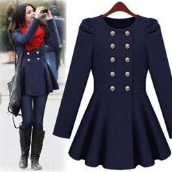Navy coat with red scarf....Yes