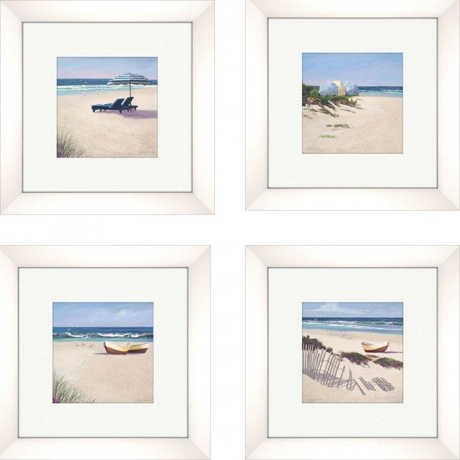 Pro Tour Memorabilia Coastal Beach Umbrella Framed Art (Set of 4) - 1-6745