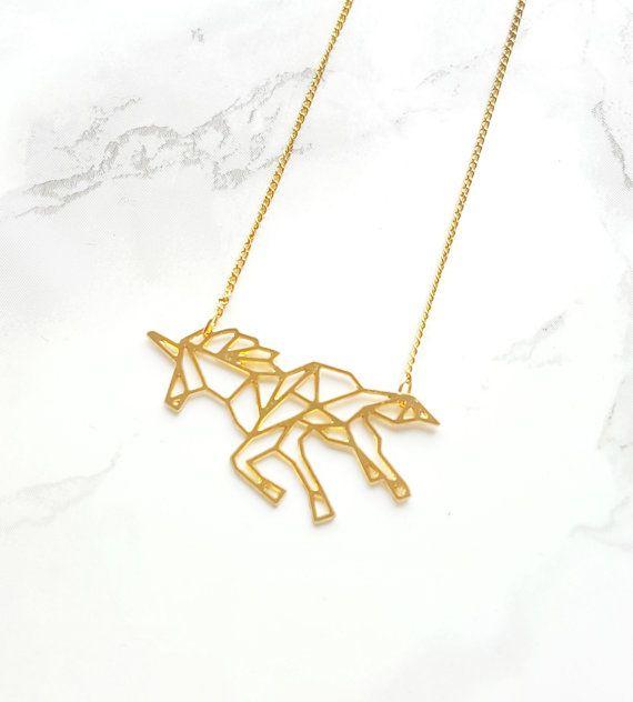 Photo of Geometric Unicorn Necklace Origami Unicorn origami necklace | Etsy
