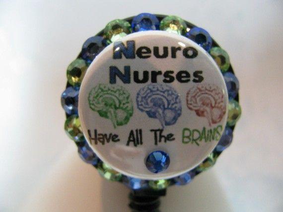 Neuro ICU Nurse retractable badge holder