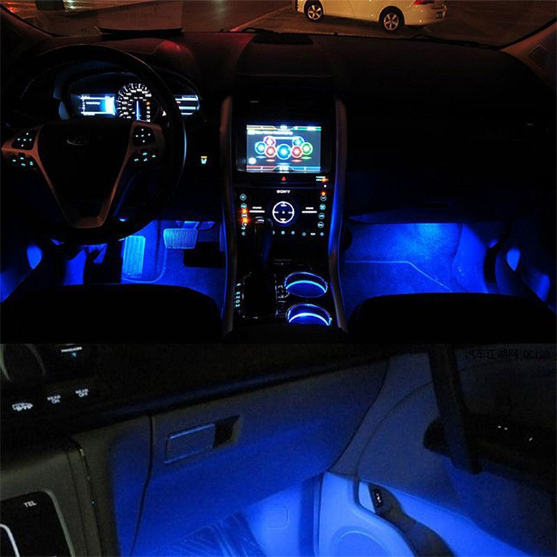 Blue 4 In 1 12v 4 X 3 Led Car Interior Light Decorative Atmosphere Car Interior Car Interior Lighting