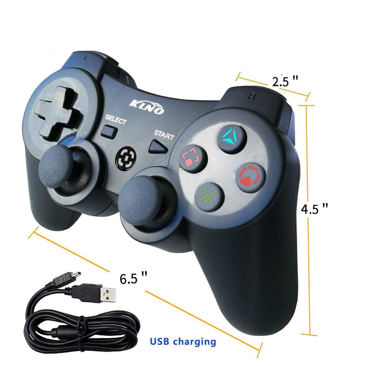 Ps3 Controller Wireless Dualshock Joystick Klno Ps39 Bluetooth Gamepad Sixaxis Super Power Usb Charger Sixax Game Controller Cool Gifts For Kids Dualshock