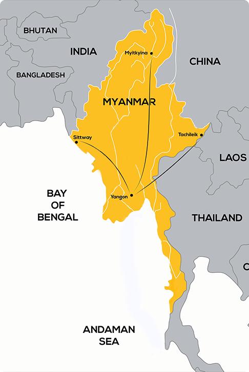 Myanmar Domestic Flight Route Map Route Map Myanmar Domestic Flights