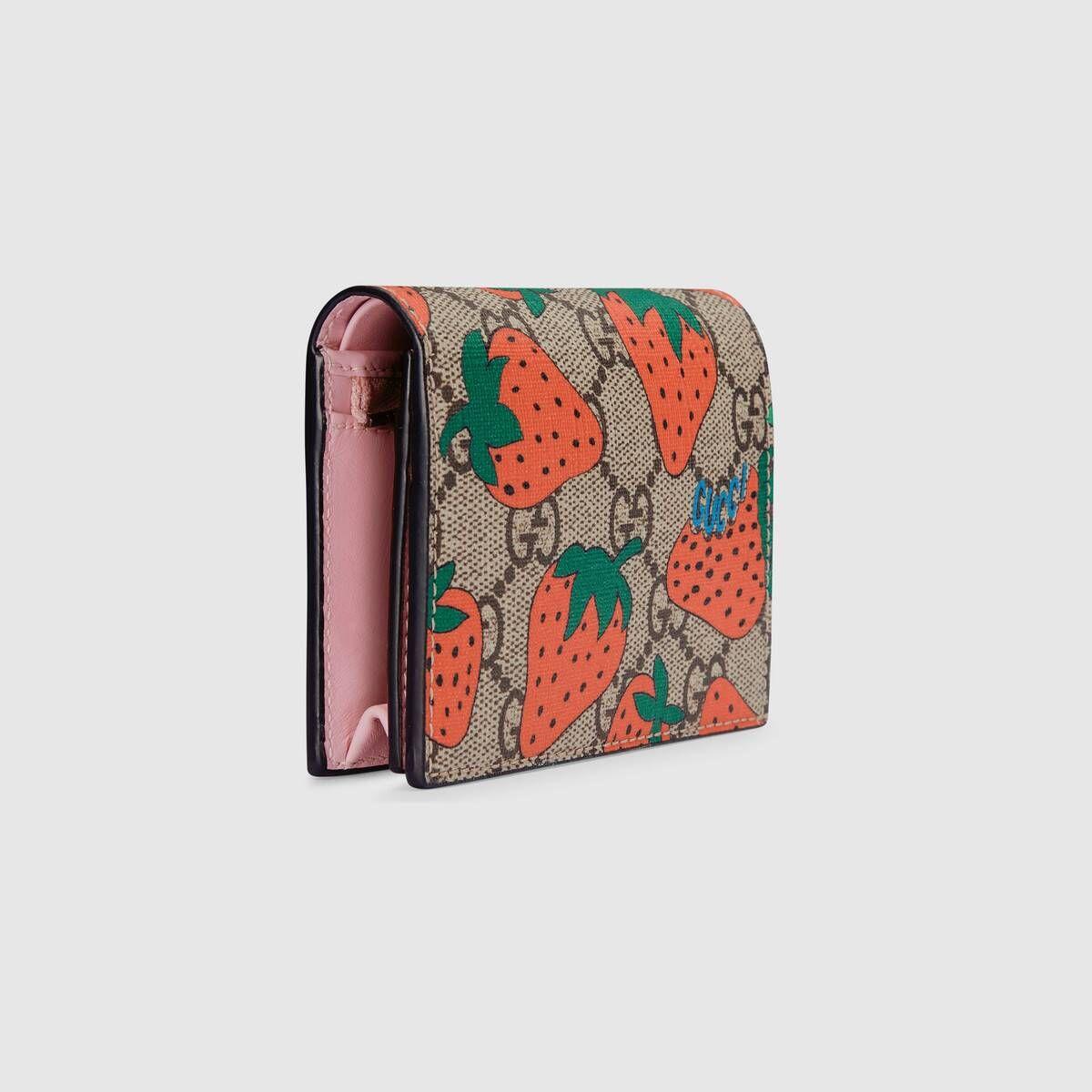 Gucci , GG Gucci Strawberry print card case wallet