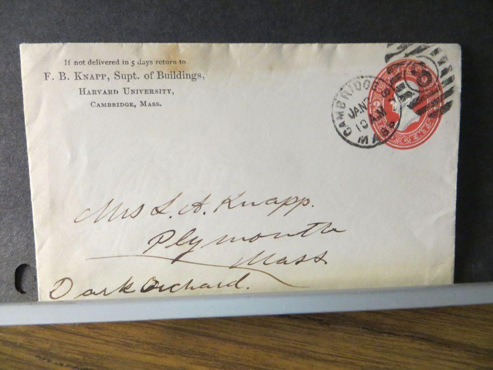 1800's HARVARD UNIVERSITY Postal History Cover CAMBRIDGE, MASS