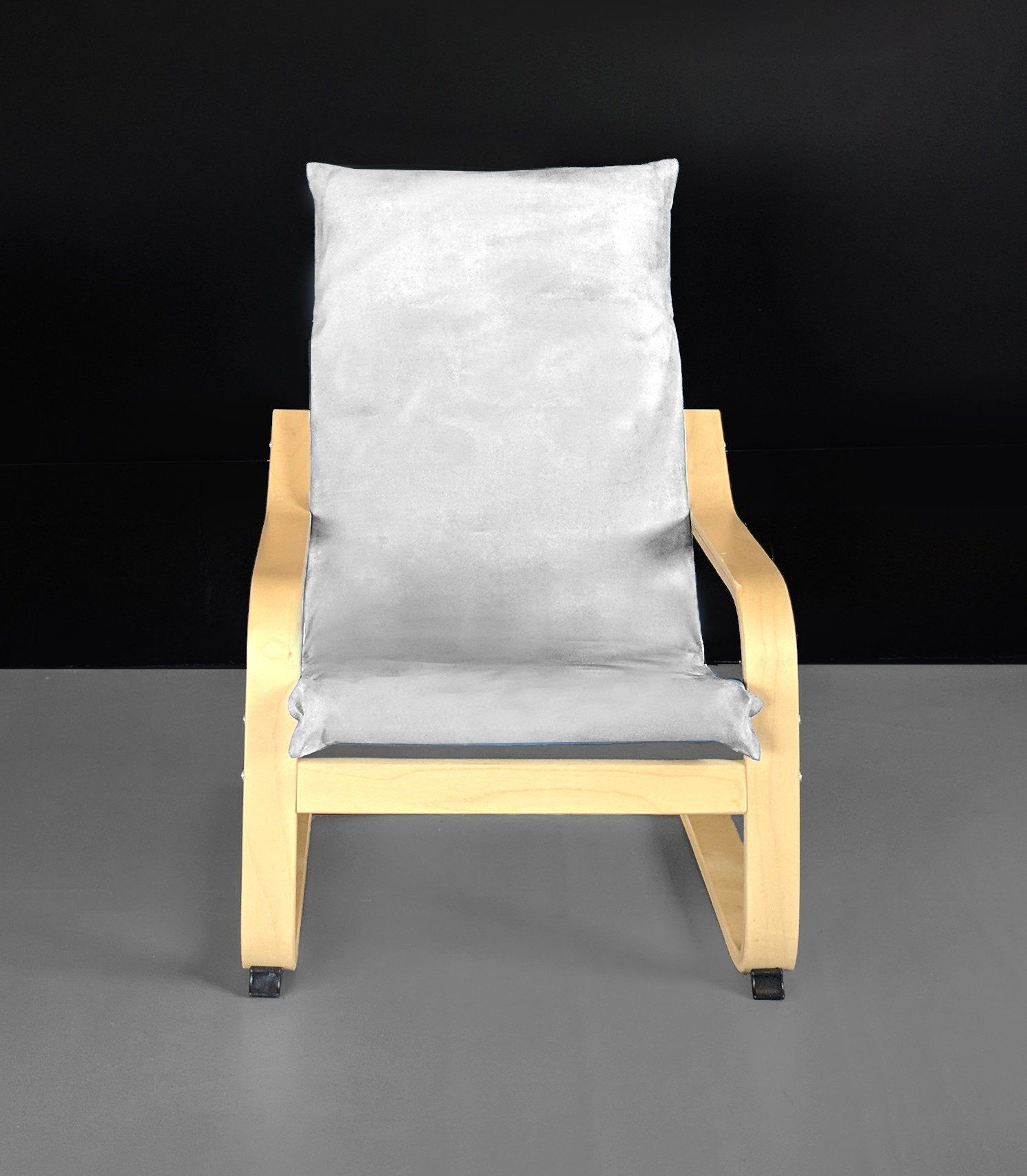Solid Silver Suede Childs Ikea Poang Chair Cover Henriksdal