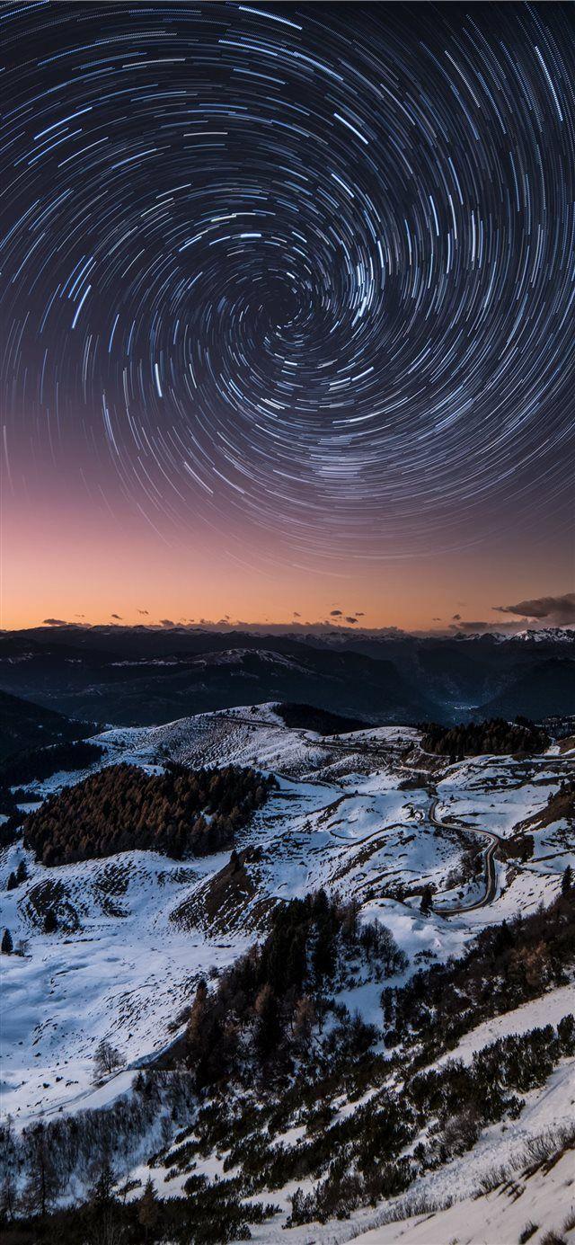 Mountain Vortex Star Trail iPhone X wallpaper cloud