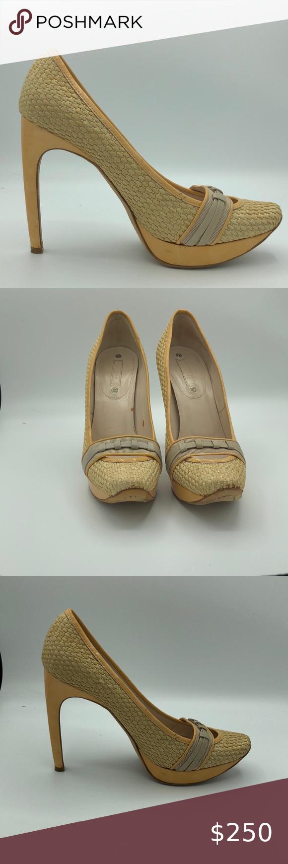 Celine Straw Shoes Heels Tan Size 37 5 In 2020 Heels Straw Shoes Shoes Women Heels