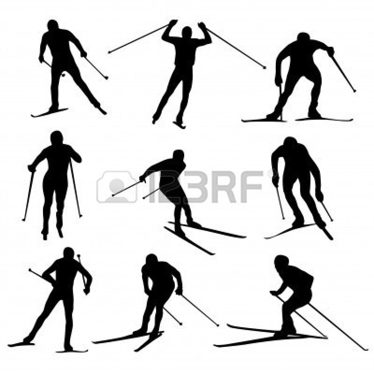 Set Of Nordic Skiing Silhouettes Royalty Free Cliparts