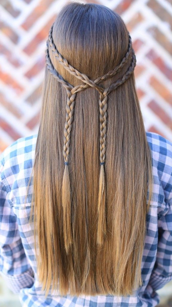 Double Braid Tie-Back | Cute Girls Hairstyles | Hair I wish I had ...