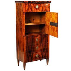 A Tall Biedermeier Cabinet with escutcheons and high contrast ...