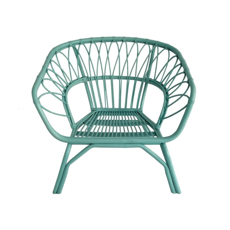 Fauteuil En Rotin Colore Turquoise Inspiration Jardin D Hiver Fun Et Branche Dimensions Cm H56 X L79 Fauteuil Rotin Mobilier Canape En Metal
