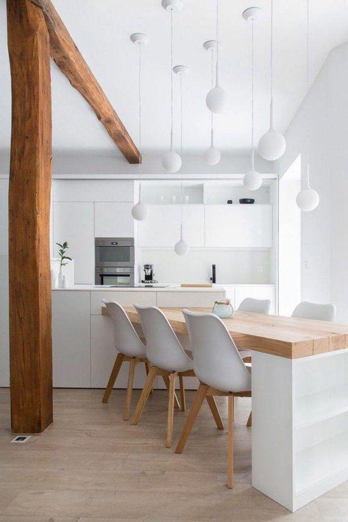 Sol en parquet chene massif clair jolie cuisine blanche sous combles chambre cuisines - Parquet cuisine ouverte ...