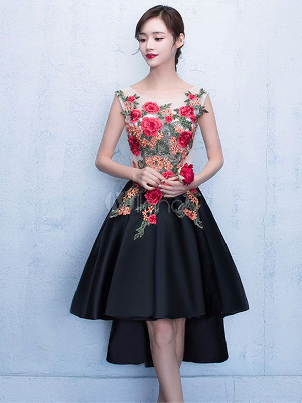 Black Prom Dresses 2017 Short Floral Print Homecoming Dress High Low Flowers  Applique Scoop Neckline Graduation