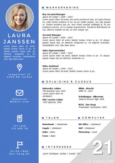 cv voorbeeld template CV Sjabloon 21 | Bobs | Cv template, Cv templates free download