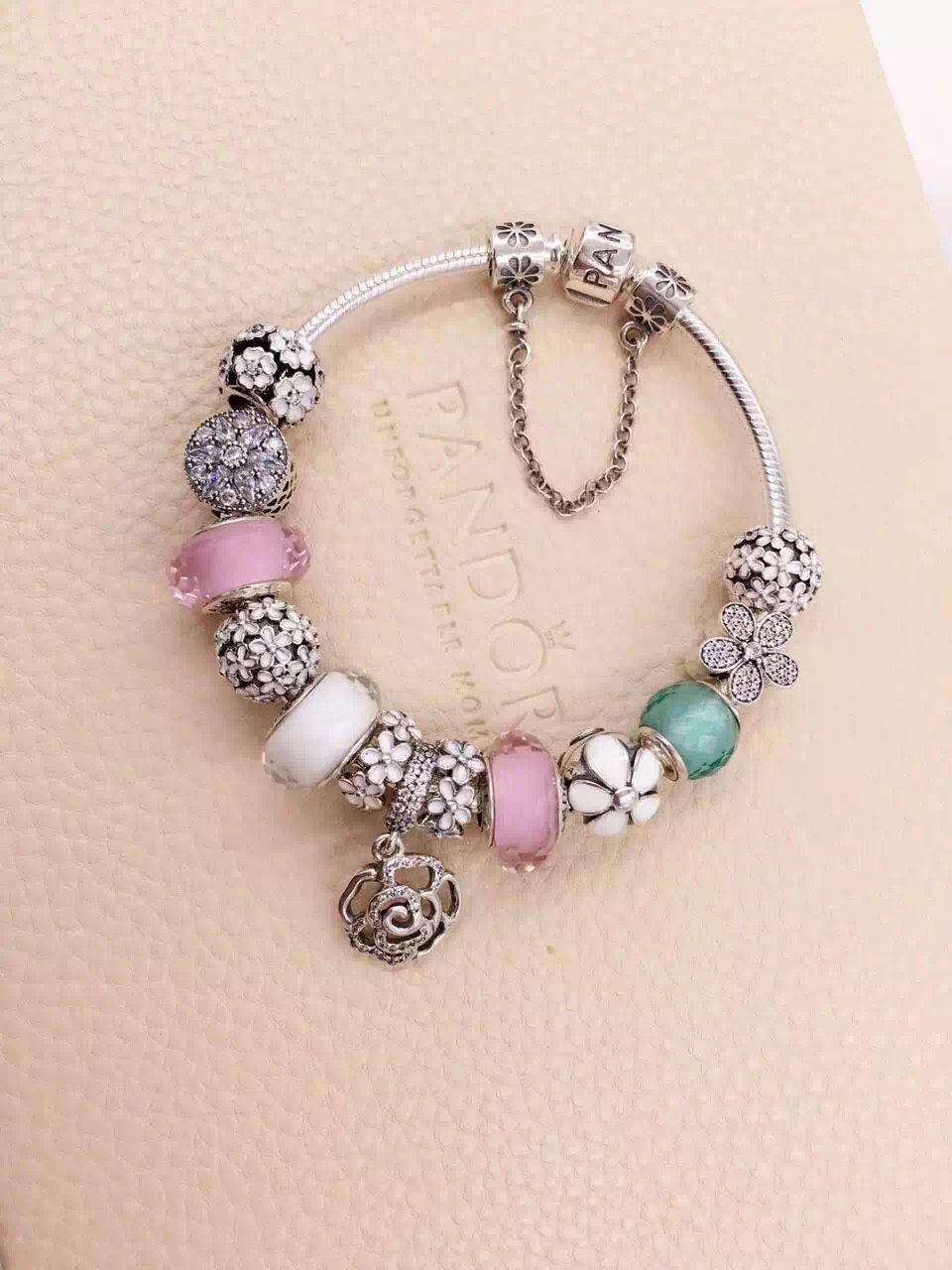 90d23c37a427 50% OFF!!! $339 Pandora Charm Bracelet White Pink Green. Hot Sale ...