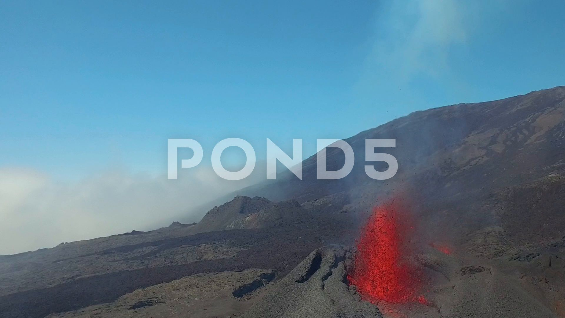 Eruption Of Piton De La Fournaise Seen By Drone Stock Footage De La Eruption Piton Stock Footage Stock Video Game Design